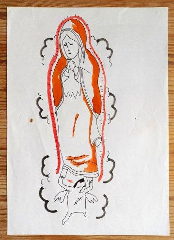 tegninger, æstetiske, figurative, grafiske, mennesker, religion, orange, papir, tusch, samtidskunst, kvindelig, moderne, moderne-kunst, kvinder, Køb original kunst og kunstplakater. Malerier, tegninger, limited edition kunsttryk & plakater af dygtige kunstnere.