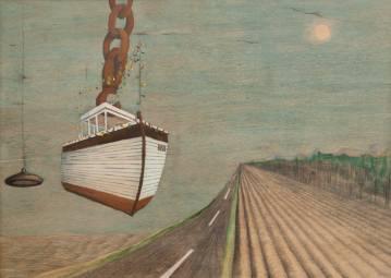 part båd, guld, kæde, landskab, skib, hav, vej, himlen