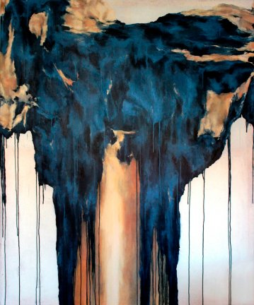 Stort abstrakt maleri med kraftige farver, online kunst galleri