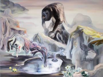 surrealistisk maleri farverig vilde dyr bjerge