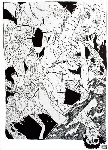 tegninger, illustrative, monokrome, portræt, surrealistiske, tegneserier, bevægelse, mennesker, seksualitet, sorte, hvide, artliner, papir, erotiske, ansigter, mænd, nøgen, seksuel, skitse, Køb original kunst og kunstplakater. Malerier, tegninger, limited edition kunsttryk & plakater af dygtige kunstnere.