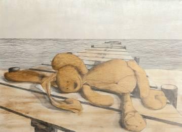 bamse, børn, illustration, kanin, badebro