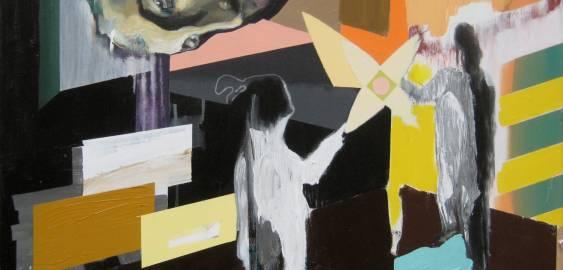 maleri akryl laerred stjerne personer ansigt mand gud religioest grafisk everybody wants to be a star kunstner marck fink