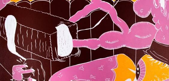 kunsttryk, litografier, engraveringer, farverige, illustrative, surrealistiske, stemninger, bevægelse, seksualitet, brune, pink, gule, blæk, papir, abstrakte-former, københavn, dansk, design, ansigter, interiør, bolig-indretning, nordisk, skandinavisk, Køb original kunst og kunstplakater. Malerier, tegninger, limited edition kunsttryk & plakater af dygtige kunstnere.