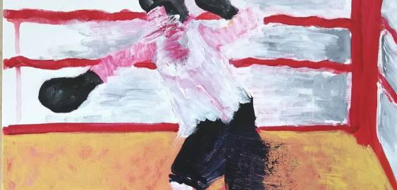 malerier, ekspressionistiske, figurative, kroppe, bevægelse, mennesker, sport, brune, røde, hvide, akryl,  bomuldslærred, sjove, dekorative, design, ekspressionisme, kvindelig, feminist, interiør, bolig-indretning, levende, kvinder, Køb original kunst og kunstplakater. Malerier, tegninger, limited edition kunsttryk & plakater af dygtige kunstnere.