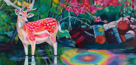 Malerier, pop art, rød blå grøn sort hvid pink neon, indretning bolig, boligindretning, hjorte, ged, blomster, skov, natur, vand