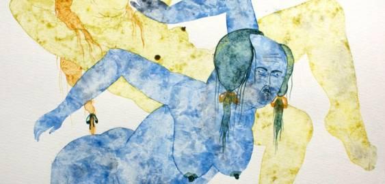 tegninger, gouache, æstetiske, figurative, portræt, kroppe, stemninger, seksualitet, blå, gule, gouache, papir, erotiske, ekspressionisme, nøgenhed, seksuel, Køb original kunst af den højeste kvalitet. Malerier, tegninger, limited edition kunsttryk & plakater af dygtige kunstnere.