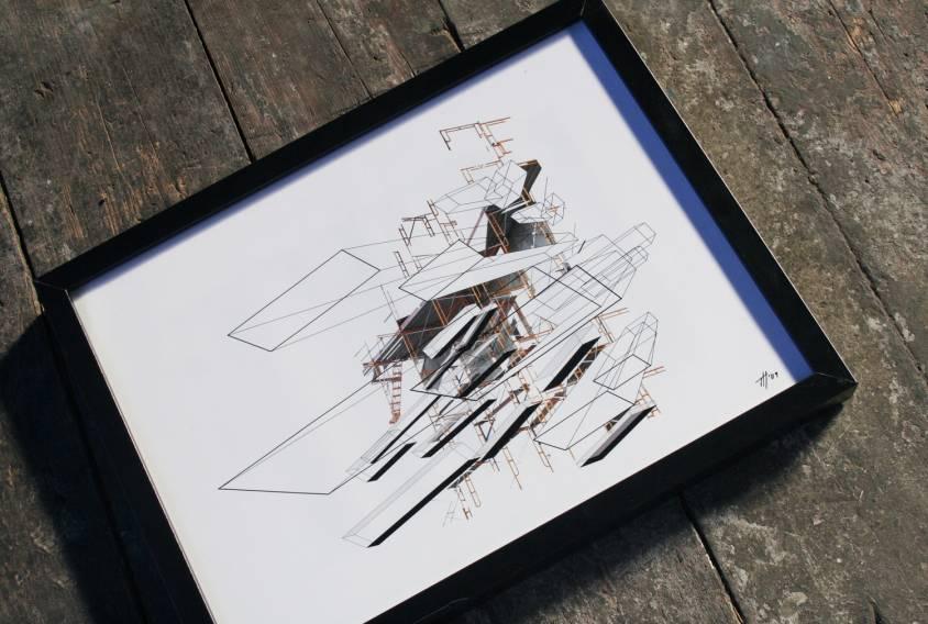 Indrammet digital collage Indreammet fotografi, kunstfoto, kunstfotografi, fragmentering, dynamik, strukturer og historie. facebook, google, pinterest