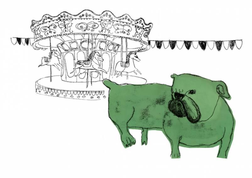 green dog carousel