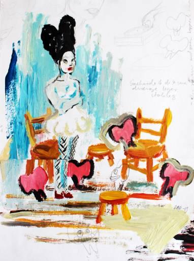 tegninger, farverige, børnevenlige, surrealistiske, børn, mennesker, orange, røde, turkise, akryl, papir, olie, blyant, andre-medier, abstrakte-former, smukke, lyse, sød, dekorative, ansigter, fantasi, kvindelig, naive, skitse, lodret, kvinder, Køb original kunst af den højeste kvalitet. Malerier, tegninger, limited edition kunsttryk & plakater af dygtige kunstnere.