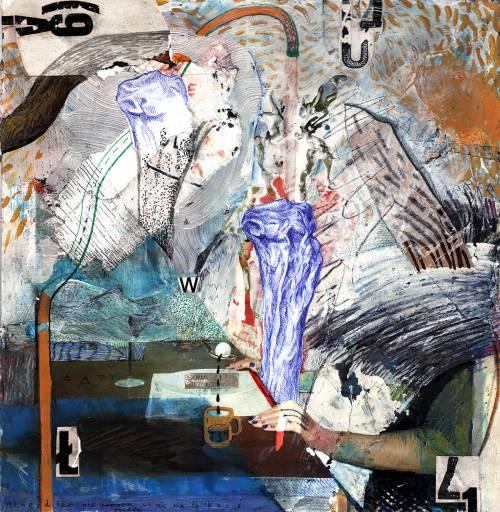 En mand der drikker kaffe, forstyr ikke chefen, abstrakte mønstre, kunst tegninger i gallerier, indrammet