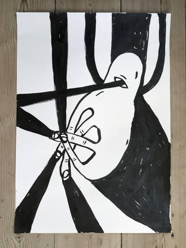 tegninger, børnevenlige, grafiske, monokrome, pop, tegneserier, humor, mønstre, sorte, papir, tusch, abstrakte-former, dansk, dekorative, design, interiør, bolig-indretning, nordisk, skandinavisk, street-art, Køb original kunst og kunstplakater. Malerier, tegninger, limited edition kunsttryk & plakater af dygtige kunstnere.