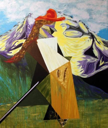 maleri bjergbestigerske parafrase - galleri kunst malerier kunstnere blå abstrakt
