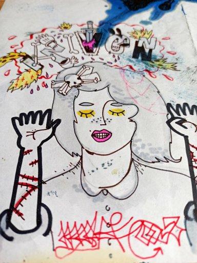 tegninger, ekspressionistiske, figurative, grafiske, pop, tegneserier, mennesker, blå, pink, gule, artliner, papir, tusch, samtidskunst, kvindelig, moderne, moderne-kunst, motorcykel, kvinder, Køb original kunst og kunstplakater. Malerier, tegninger, limited edition kunsttryk & plakater af dygtige kunstnere.