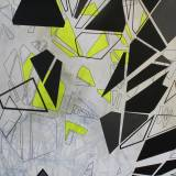 tivoli rutchebane, Wonder Wheel, Coney Island, Maleri, fragmentering, dynamik,  Maleri, akryl, sort, geometriske former, En del af en serie, alle med henvisninger til Coney Island, New York's strukturer og historie.