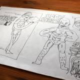 tegninger, illustrative, monokrome, surrealistiske, kroppe, mennesker, typografi, sorte, hvide, artliner, papir, tusch, mænd, Køb original kunst og kunstplakater. Malerier, tegninger, limited edition kunsttryk & plakater af dygtige kunstnere.