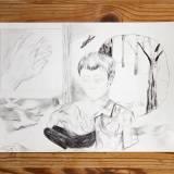 tegninger, monokrome, natur, mennesker, sorte, grå, hvide, kul, papir, blyant, sort-hvide, Køb original kunst og kunstplakater. Malerier, tegninger, limited edition kunsttryk & plakater af dygtige kunstnere.