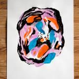 tegninger, abstrakte, farverige, bevægelse, mønstre, sorte, blå, orange, papir, akvarel, abstrakte-former, dansk, dekorative, design, interiør, bolig-indretning, nordisk, skandinavisk, levende, Køb original kunst og kunstplakater. Malerier, tegninger, limited edition kunsttryk & plakater af dygtige kunstnere.
