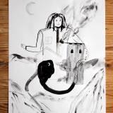 tegninger, æstetiske, figurative, landskab, portræt, botanik, natur, sorte, grå, hvide, kul, blæk, papir, akvarel, dekorative, huse, interiør, bolig-indretning, bjerge, sceneri, Køb original kunst og kunstplakater. Malerier, tegninger, limited edition kunsttryk & plakater af dygtige kunstnere.