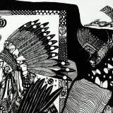illustrationer. ørn, indianer, fugle Udtryksfuldt moderne kunst. dyr. talentfulde kunstnere, online kunstgalleri.
