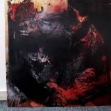 Flot Abstrakt rødt sort gråt stort originalt maleri til din bolig fantastisk indretning