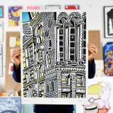 plakater-posters-kunsttryk, giclee-tryk, børnevenlige, grafiske, illustrative, pop, arkitektur, tegneserier, humor, stemninger, sorte, hvide, blæk, papir, bygninger, byer, samtidskunst, københavn, dansk, dekorative, design, interiør, bolig-indretning, moderne, moderne-kunst, nordisk, skandinavisk, Køb original kunst og kunstplakater. Malerier, tegninger, limited edition kunsttryk & plakater af dygtige kunstnere.