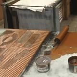 LOVE linocut_printing process