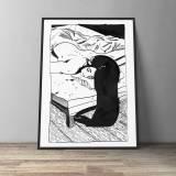 kunsttryk, gliceé, æstetiske, illustrative, monokrome, portræt, kroppe, hverdagsliv, mennesker, seksualitet, sorte, hvide, blæk, sort-hvide, nøgen, Køb original kunst og kunstplakater. Malerier, tegninger, limited edition kunsttryk & plakater af dygtige kunstnere.