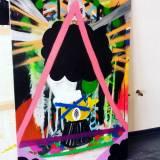 malerier, abstrakte, farverige, grafiske, natur, mønstre, sorte, grønne, orange, røde, akryl,  bomuldslærred, tusch, olie, spraymaling, abstrakte-former, levende, Køb original kunst af den højeste kvalitet. Malerier, tegninger, limited edition kunsttryk & plakater af dygtige kunstnere.