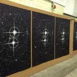 TWIN STARS linocut_printing process