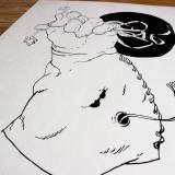 tegninger, figurative, grafiske, illustrative, monokrome, tegneserier, tekstiler, sorte, hvide, papir, tusch, tid, Køb original kunst og kunstplakater. Malerier, tegninger, limited edition kunsttryk & plakater af dygtige kunstnere.