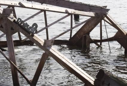 Fotografi af jern konstruktion i East River New York