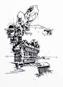 kunsttryk, gliceé, abstrakte, geometriske, monokrome, arkitektur, sorte, hvide, blæk, papir, abstrakte-former, arkitektoniske, sort-hvide, Køb original kunst af den højeste kvalitet. Malerier, tegninger, limited edition kunsttryk & plakater af dygtige kunstnere.