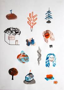 tegninger, gouache, akvareller, abstrakte, figurative, botanik, natur, sorte, blå, røde, gouache, papir, akvarel, sjove, smukke, dansk, dekorative, design, ansigter, huse, interiør, bolig-indretning, nordisk, skandinavisk, træer, Køb original kunst og kunstplakater. Malerier, tegninger, limited edition kunsttryk & plakater af dygtige kunstnere.