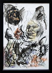 tegninger, ekspressionistiske, portræt, mennesker, beige, sorte, hvide, gule, artliner, papir, tusch, ekspressionisme, ansigter, skitse, lodret, vilde, Køb original kunst af den højeste kvalitet. Malerier, tegninger, limited edition kunsttryk & plakater af dygtige kunstnere.