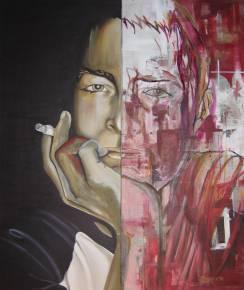 store malerier, Abstrakt portræt, maleri, sort, rød, cigaret, ansigt, stilart