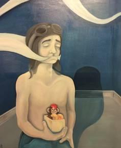 moderne kunst kvium menneske former blå