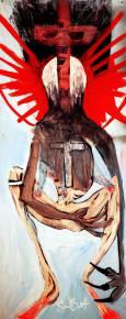 malerier, ekspressionistiske, pop, kroppe, kæledyr, religion, sorte, blå, brune, røde, akryl,  bomuldslærred, spraymaling, ekspressionisme, street-art, Køb original kunst af den højeste kvalitet. Malerier, tegninger, limited edition kunsttryk & plakater af dygtige kunstnere.