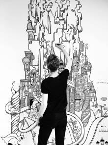 tegning, kunst, kunstgalleri, kunstgallerier, galleri, vægmaleri, sjove tegninger, street art, pop kultur, indretning, nørrebro bryghus, randers kunstmuseum, krabbesholm, paderup gymnasium