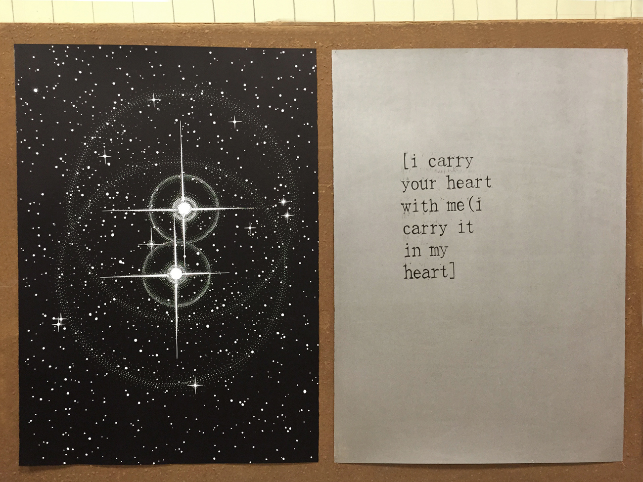 TWIN STARS linocut_twin print