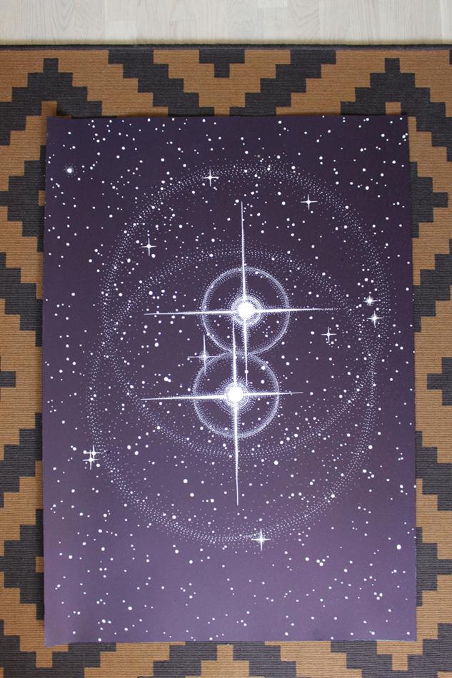 TWIN STARS linocut_in daylight