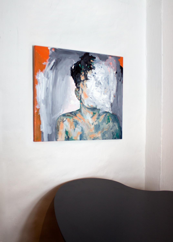malerier, ekspressionistiske, figurative, kroppe, stemninger, mennesker, sorte, grønne, grå, orange, akryl,  bomuldslærred, abstrakte-former, drenge, lyse, samtidskunst, københavn, dansk, interiør, bolig-indretning, mænd, moderne, moderne-kunst, skandinavisk, Køb original kunst og kunstplakater. Malerier, tegninger, limited edition kunsttryk & plakater af dygtige kunstnere.