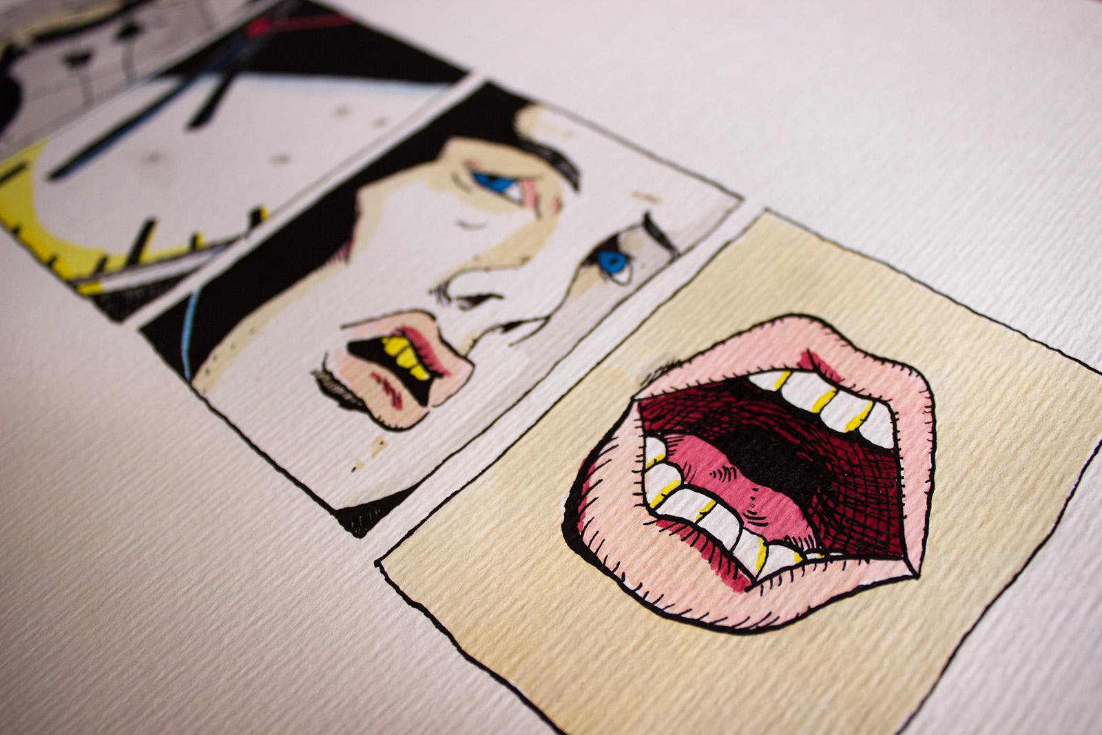 tegninger, grafiske, illustrative, pop, portræt, tegneserier, hverdagsliv, stemninger, mennesker, sorte, hvide, gule, blæk, papir, akvarel, ansigter, skitse, Køb original kunst og kunstplakater. Malerier, tegninger, limited edition kunsttryk & plakater af dygtige kunstnere.