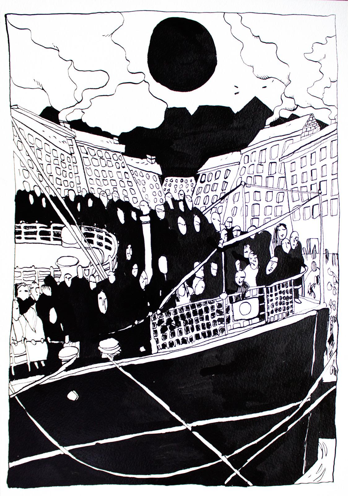 usa rejse båd mennesker stærke og udtryksfulde kunst illustrationer og tegninger, dygtig dansk illustrator, tegner, sort hvide tegninger