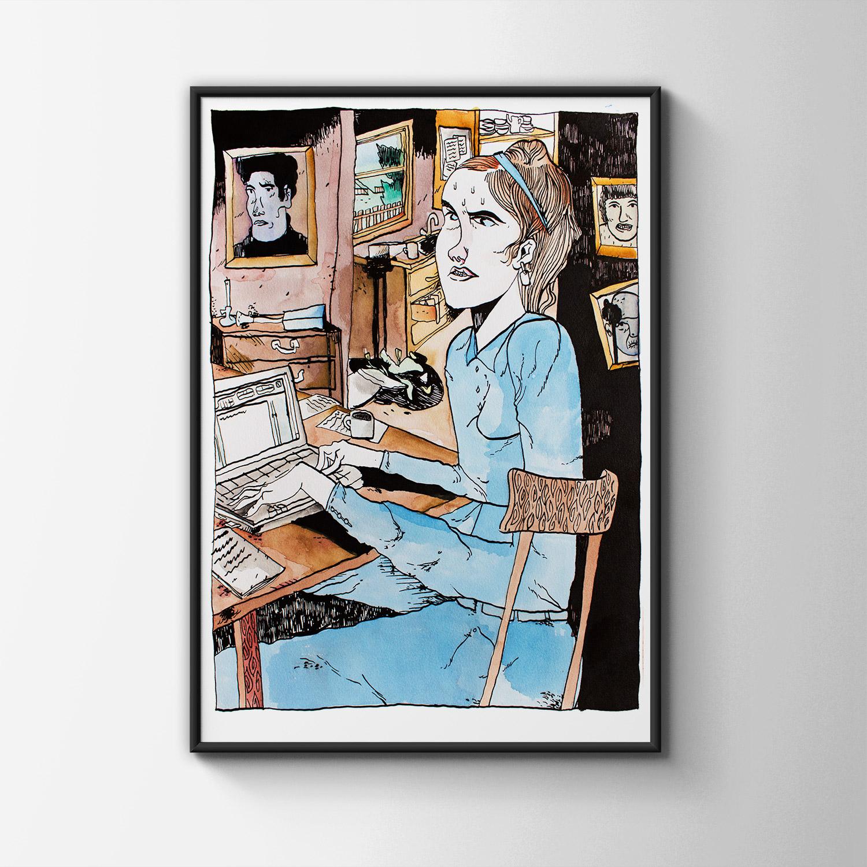 tegninger, grafiske, illustrative, portræt, hverdagsliv, mennesker, seksualitet, sorte, grå, hvide, artliner, papir, tusch, nøgen, Køb original kunst og kunstplakater. Malerier, tegninger, limited edition kunsttryk & plakater af dygtige kunstnere.