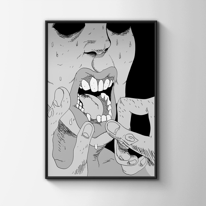 kunsttryk, gliceé, ekspressionistiske, monokrome, mennesker, sorte, grå, hvide, papir, sort-hvide, samtidskunst, dansk, design, ekspressionisme, ansigter, interiør, bolig-indretning, moderne, moderne-kunst, plakater, tryk, Køb original kunst og kunstplakater. Malerier, tegninger, limited edition kunsttryk & plakater af dygtige kunstnere.